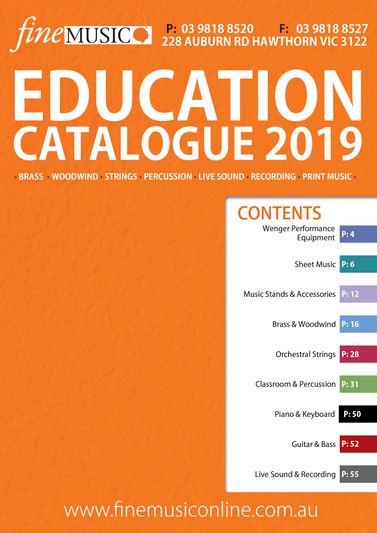 The Fine Music Education Catalogue contains the largest selection of education related products and resources in Australia.